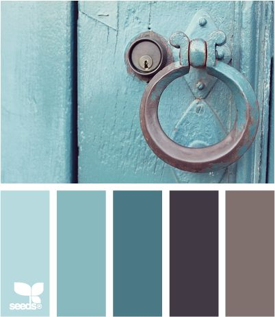 color pull- kitchen colors gray cabinets with light gray walls, dark floor and turquoise accessories