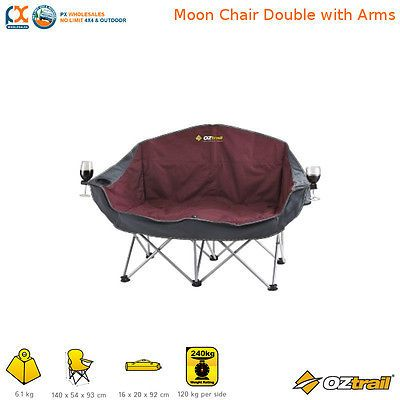 PRE ORDER OZtrail Moon Double Chair with Arms Rated 240kg  Camping FCB-MAD-B
