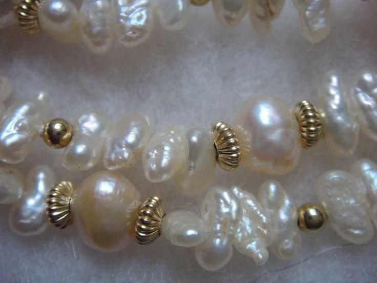 Biwa Perlenkette 585 Gold Applikationen endlos 95 cm Farbe goldbraun bis violett