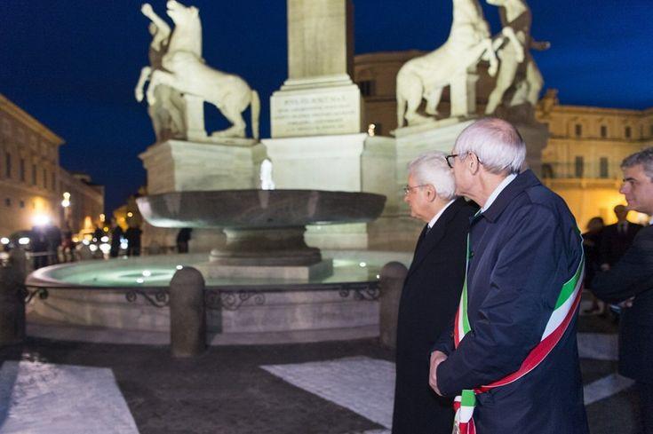 Terminato restauro fontana del Quirinale, tra i monumenti simbolo della Capitale. Oltre al presidente della Repubblica anche Tronca all'inaugurazione
