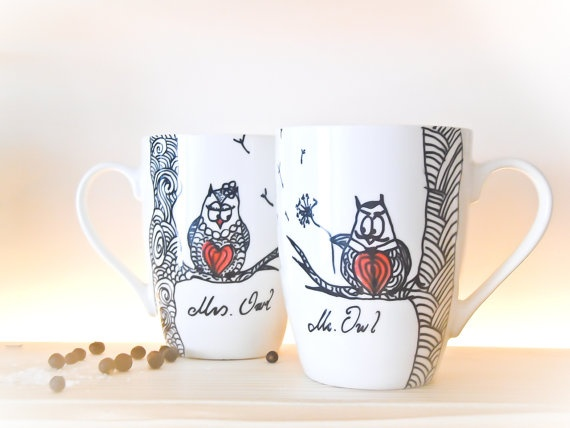 ... Owls Wedding coffee cups hand paintedpersonalized wedding favor
