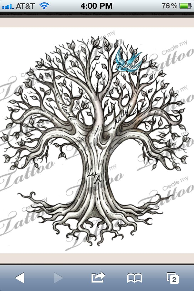Tree Tattoo.  I really like the circular shape.  I also plan to add small details similar to the blue bird.