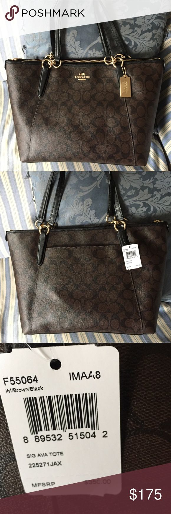 Coach Signature Ava Tote Brown/Black with goldtone hardware and a gold hangtag. Back external pocket. Roomy interior. Fits comfortably on the shoulder. Zipper closure. Coach Bags Totes