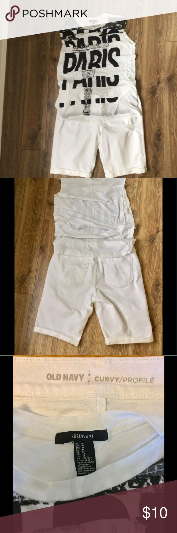 White Old Navy Shorts➕White Forever 21 Shirt💥🍑⬇️ So cute you will have people dreaming of Paris with these cuffed and tattered Jeans and matching Paris Tank. Sure to stay cool 😎 in this one Sz. 6 and M top🗼. Old Navy Shorts Jean Shorts