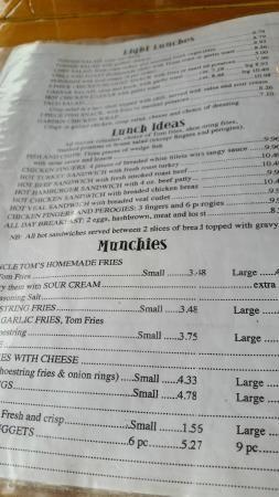 Restaurant menu samplings, Uncle Tom's Restaurant  |  Hwy 16, Minnedosa, Manitoba R0J 1E0, Canad
