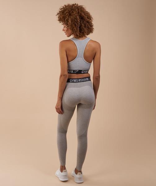 Gymshark Flex Leggings - Light Grey Marl/Black 2
