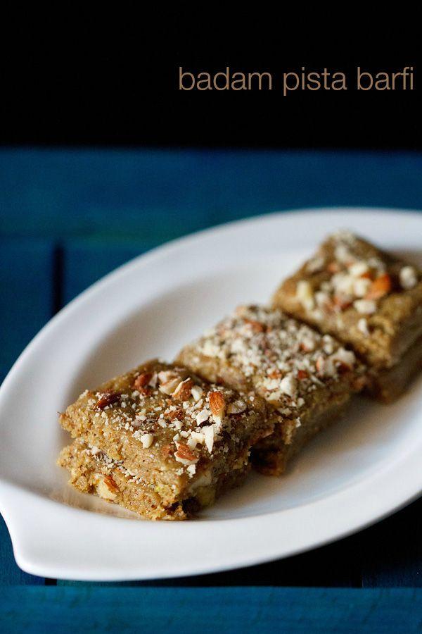 'Pista-Badam Barfi' - Quick to prepare barfi with almonds, pistachios and khoya (mawa or evaporated milk solids)