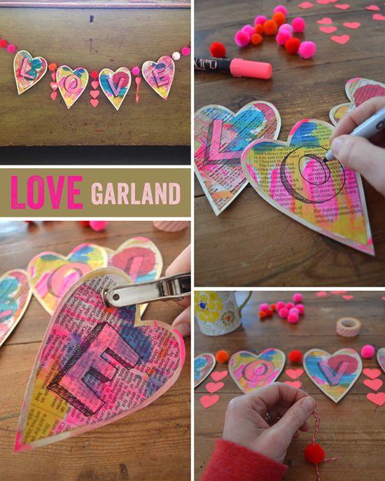 DIY love garland - Valentine's craft | small for big