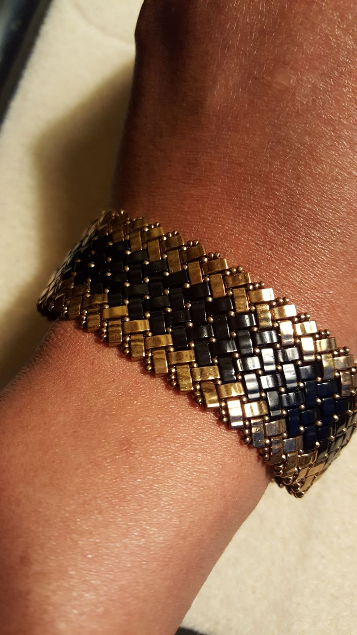 Bronze and Black Half Tila Bead Bracelet