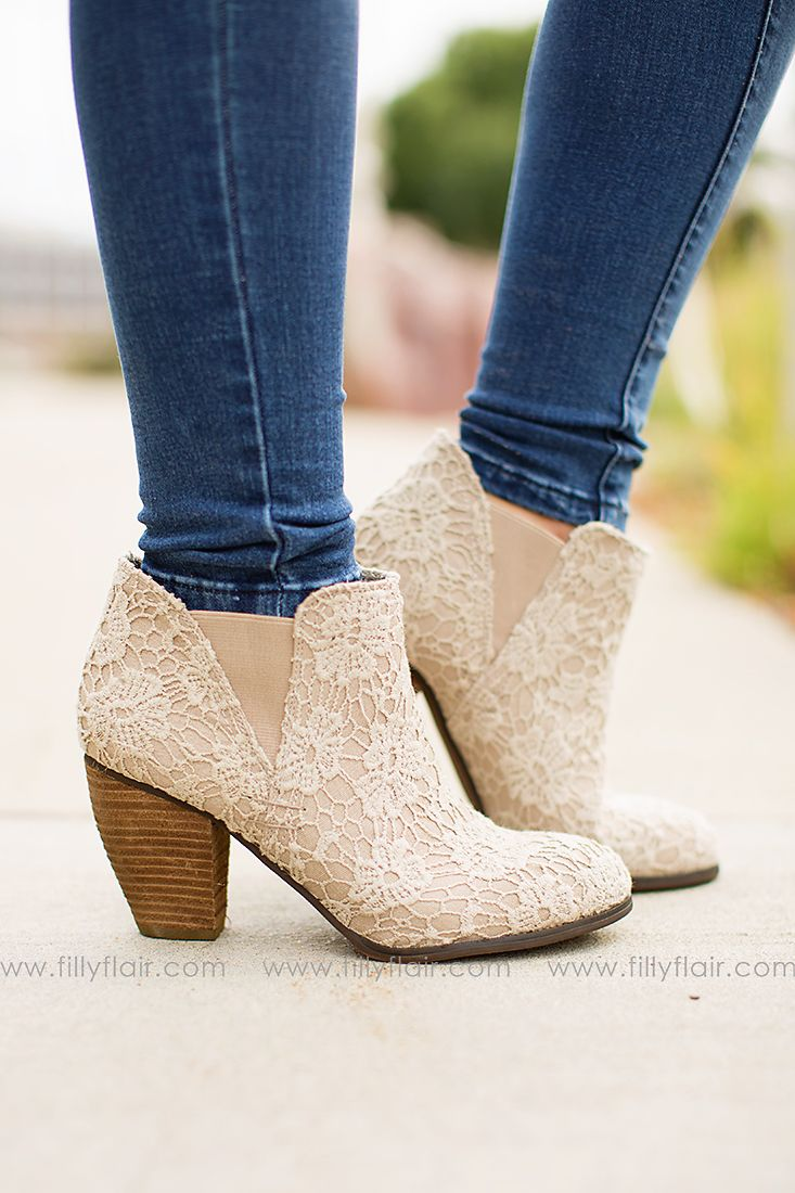 """This gorgeous lace booties are the perfect addition to any outfit! Heel 3"""""""