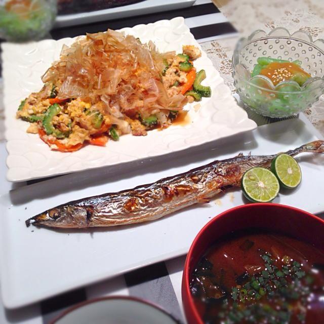 秋刀魚の塩焼き☆ ゴーヤチャンプルー☆ お刺身こんにゃく☆ わかめと葱のお味噌汁 - 54件のもぐもぐ - さんま塩焼きの献立 by RIESMO