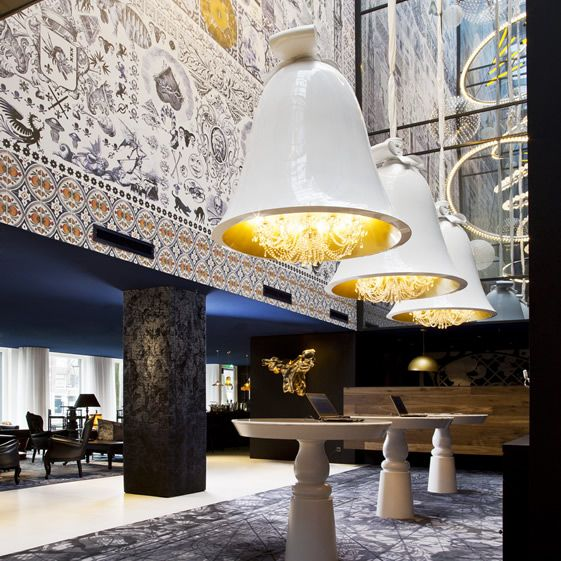Examples of the historical influence can be found in the lobby, with a carpet bearing an antiquated map form the glory days of Dutch naval exploration and commerce, and Wanders' huge bell chandeliers. Look further upwards and a glittering constellation of stars shine down from the observatory...