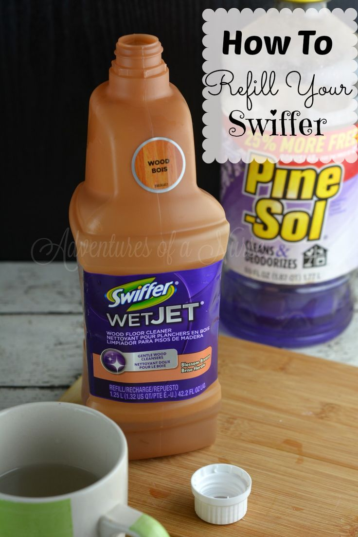 How to Refill your Swiffer I love my Swiffer Wet Jet. I can not afford the expensive refill bottles. This is a Easy How To Refill your Wet Jet Bottle. I hope this was as useful to you as it is to me. You need 1 cup hot water almost boiling and your empty swiffer …