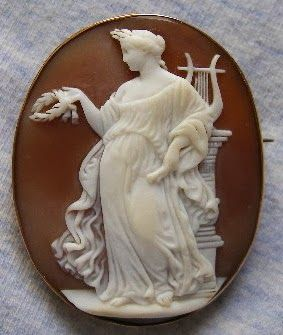 Cameo, depicting the Greek lyric poetess Sappho   Italian (probably), ca. 1850-60   Bullmouth shell