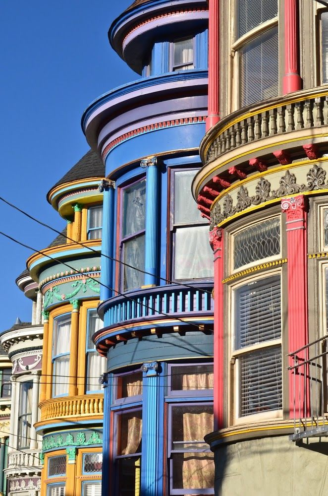 San Francisco + Pastel Painted Ladies + Victorian + Architecture + Windows