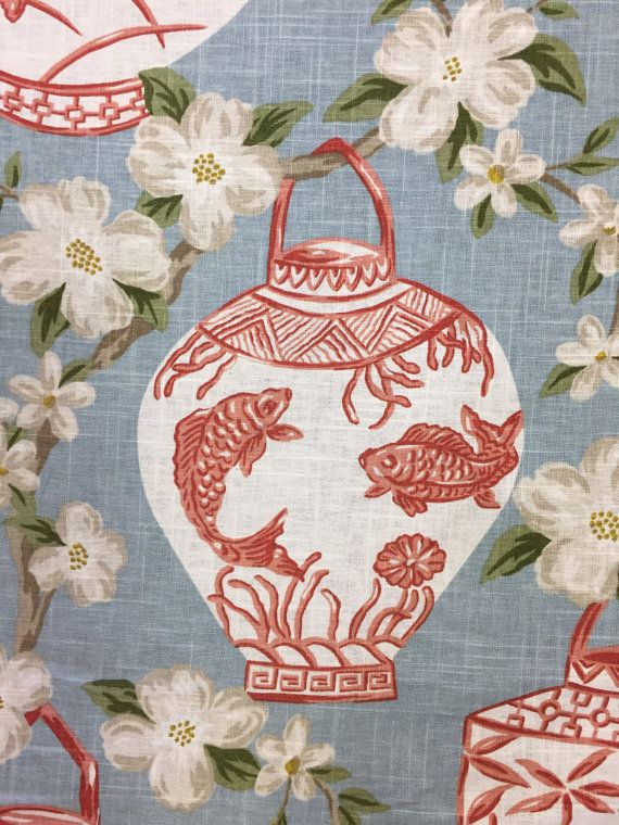 Coral - Light Blue - Chinoiserie - Asian Lanterns A chinoiserie fabric in a coral and light blue color palette, and the print is of asian lanterns with koi fish, temples, butterflies, and bamboo on them. For more information about this fabric please see below. Details: Vertical Repeat: 27 Horizontal Repeat: 27 1/2 Width: 58 Care: Dry Clean Only Usage: -Medium-weight Upholstery: Sofas, Indoor Benches, Ottomans, Footstools, Headboards, Window seat cushions, Kitchen Chairs, Dining Room Cha...