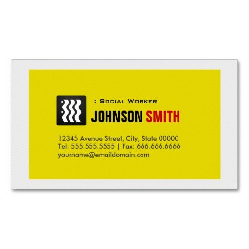 Social Worker - Urban Yellow White Business Cards