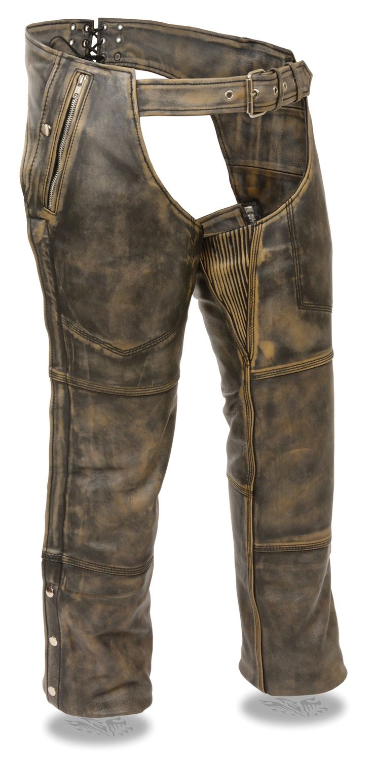 - Premium Dunlop Brown Leather 1.3-1.4mm Thick - Dual Sided Zipper & Snap Double Thigh Storage Pockets - Fully Removable Snap Out Cold Weather Thermal Liner For All Season Riding - Mesh Liner Under Th