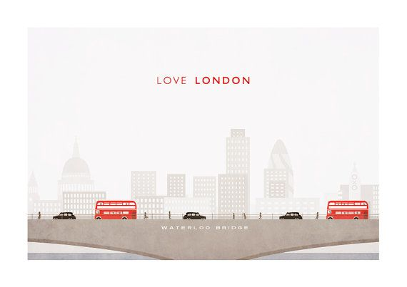 Weavers of Southsea Love London City Skyline print