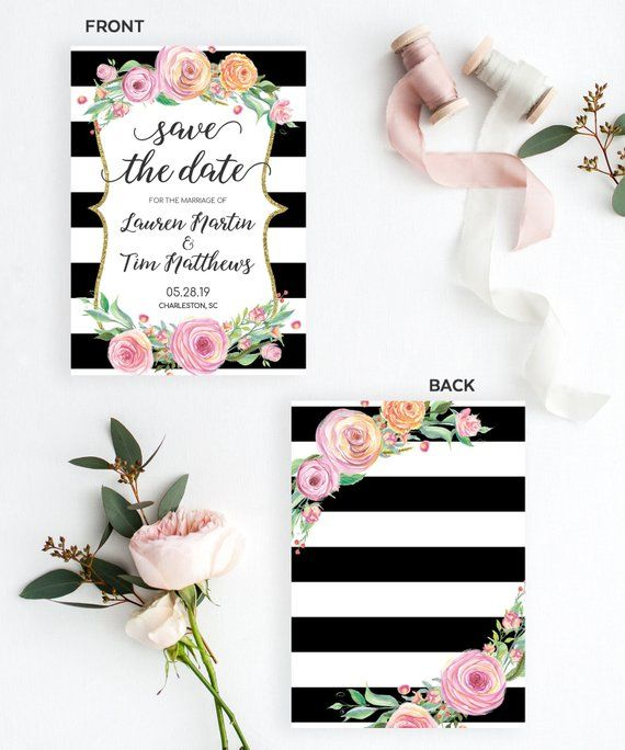 Save the Date Template Instant Download, Floral Save the Date