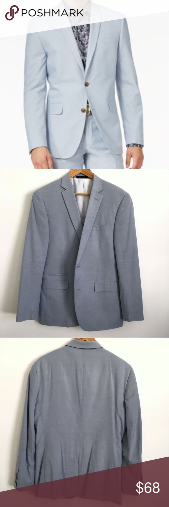 Men's Slim-Fit Cotton Sky Blue Jacket, Bar III Men's Slim-Fit Jacket, Bar III for Macy's  * Worn once. Still in good condition. See pictures for flaws.  * Composition: 100% cotton, lining 100% polyester  📦 Bundle + save on shipping  📫 Same day shipping M-F 🚫 NO TRADES | OFFERS WELCOME Bar III Suits & Blazers Suits