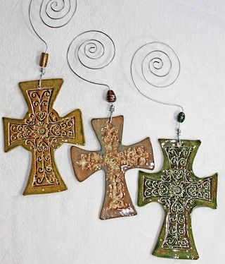 crosses: Crosses Decor, Crosses Ornaments, Crosses Earrings, Ceramics Crosses, Crosses Pottery, Pottery Crosses, Raunchi Pin, Random Pin, Christmas Ornament
