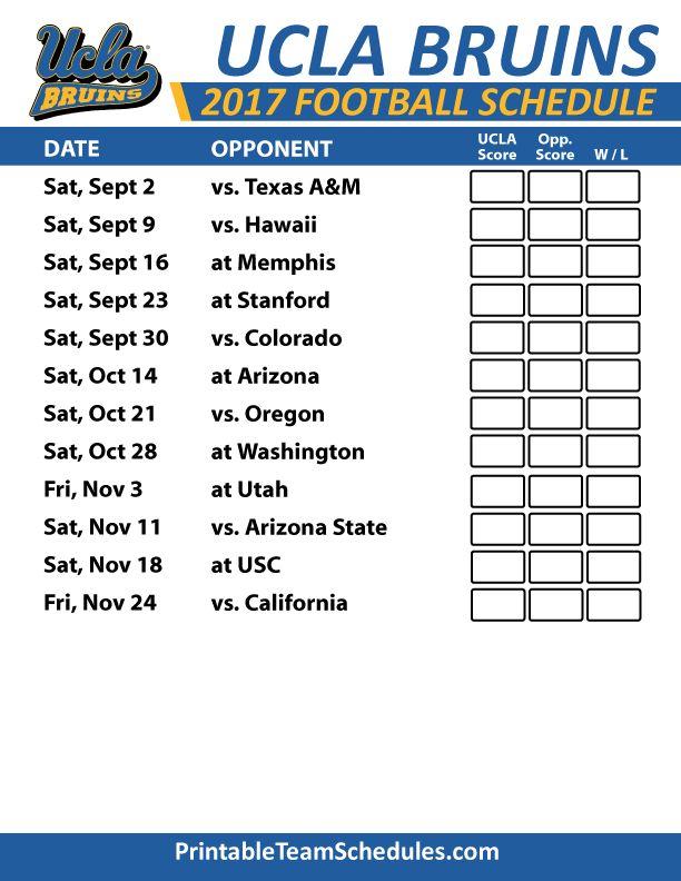 2017 UCLA Bruins Football Schedule