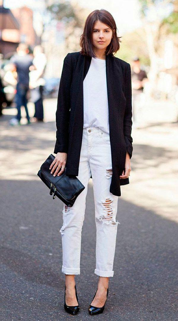 Street style look com calça jeans cintura alta.