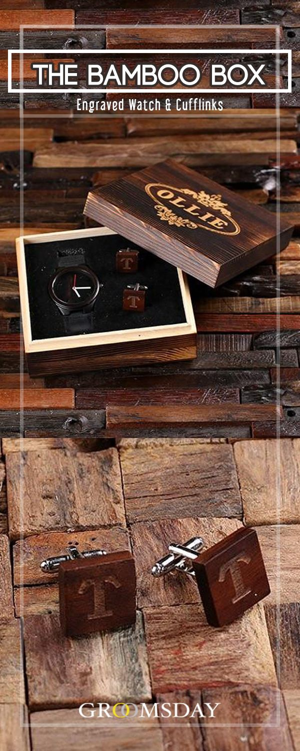 Grab this stylish, eco-friendly Bamboo wood wristwatch and matching cufflinks set,  enclosed in an engraved wooden gift box.  The perfect personalized groomsmen gift, this black bamboo watch is well constructed with leather straps,  and manufactured with high-quality Japanese-made quartz movements.Share & repin!  Only from Groomsday | Groomsday.com #woodwatch #watches #woodcufflinks #cufflinks #groom #groomsmen #groomsmengifts #personalizedgifts #giftsformen #mensaccessories