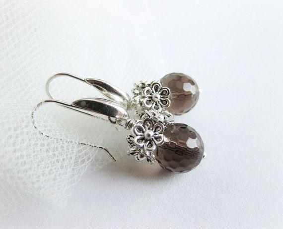 Smoky quartz earrings gemstone drop earrings by MalinaCapricciosa
