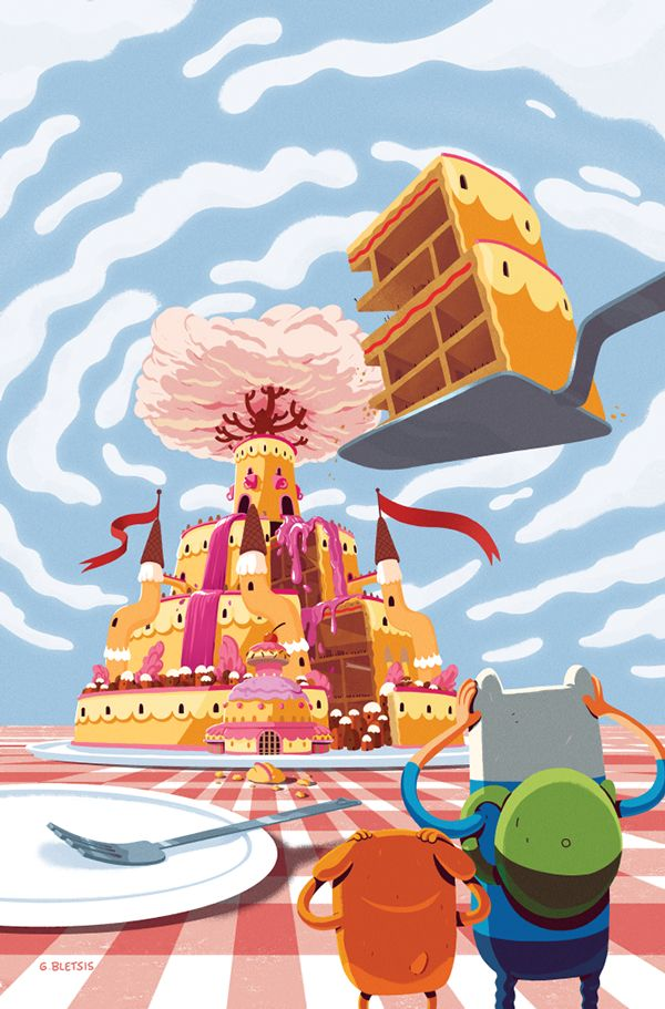 A big slice of the Candy Kingdom.  Adventure Time comic cover.