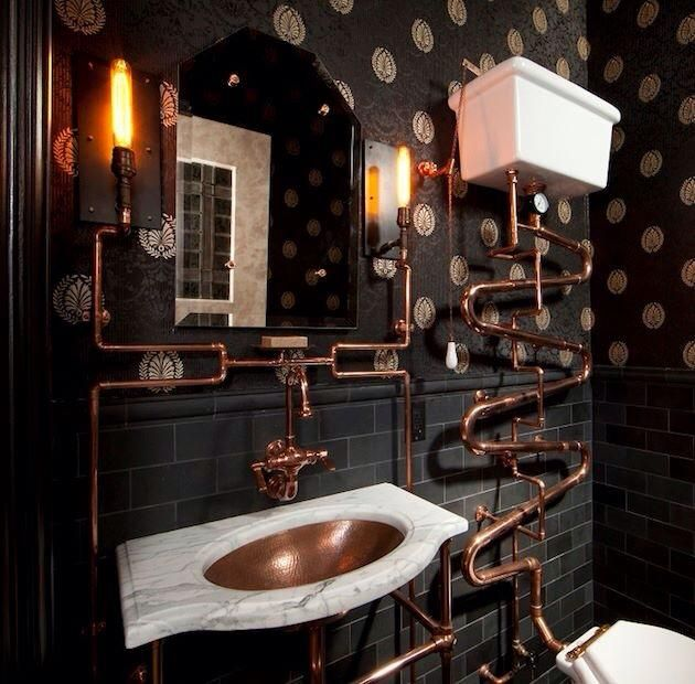 Want something that'll completely stun your guests? Dare to be different with a steampunk bathroom!