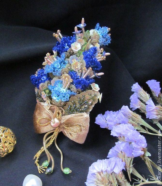 """Купить Брошь """"Маленький кусочек лета"""" IV - синий, брошь букет, брошь цветы, колокольчики"""