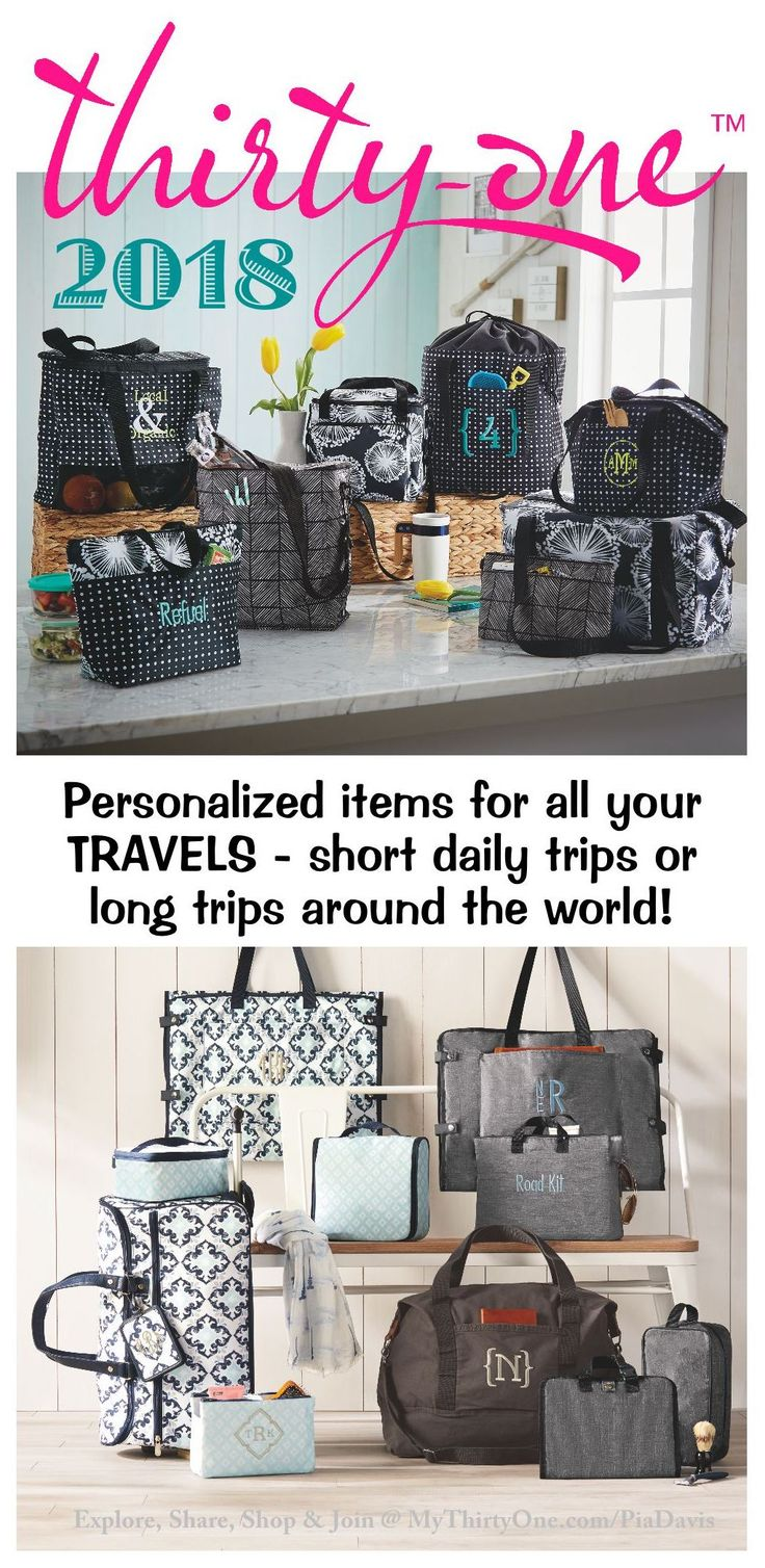 #31 2018 Thirty-One Gifts has items for daily trips to the Grocery Store such as the Essential Utility Tote, Cinch Top Thermal, Large & Deluxe Utility Totes, Fresh Market Thermal and More. For longer trips carry all your items in the Well Suited Garment Tote, the Wheels-Up Roller as well as the Retro Metro Weekender, Cindy Tote, Around Town Tote, All Packed Duffel. Carry your smaller items in the 24/7 Case, Glamour Case, Super Swap-It Pocket, Fold-Up Family Organizer or the Hanging Travel…