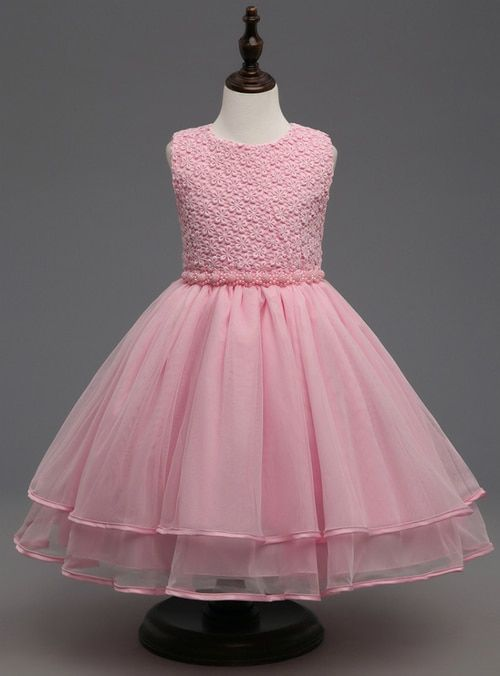 4c030e6032bf In Stock Ship in 48 hours Pink Pearls Girl Dress