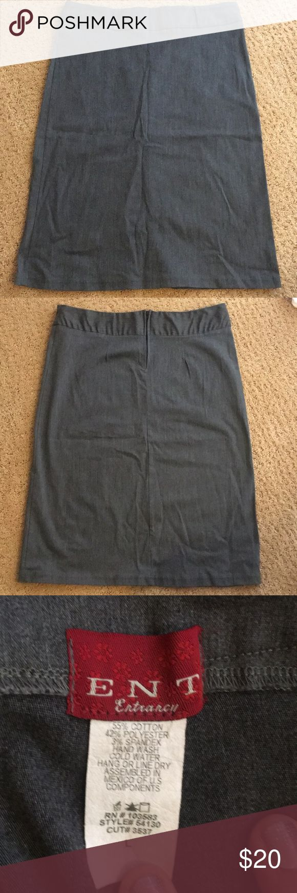 Pencil Skirt Grey Pencil Skirt Size Large Good Condition Nice stretch See photos for measurements ENT Entrarcy Skirts Pencil