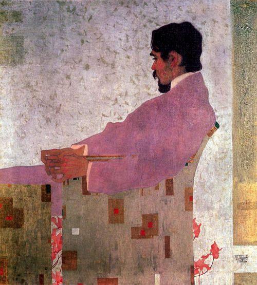 Egon Schiele, Portrait of the Painter Anton Peschka, 1909 LA CHAQUETA MALVA ......VIENA,,,,compañero de GUSTAV KLIMT