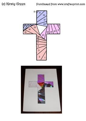 Iris Folding Cross Pattern Easter on Craftsuprint designed by Kirsty Green - This cross pattern is easy to make into a lovely card. I have attached my card example. - Now available for download!