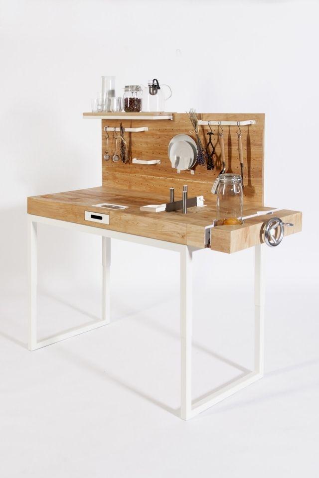 miniküche erlenholz arbeitsplatte utensilien sichtbar greifbar, Kuchen