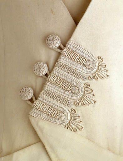 Edwarian fashion dress detail passementerie trimming. Circa 1909-1912