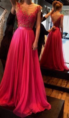 Hot-Selling Hot Red Appliques Lace Prom Dress  Floor Length Sash Backless Prom Dresses Scoop Chiffon Prom Dress,Lace Prom Dresses 2017