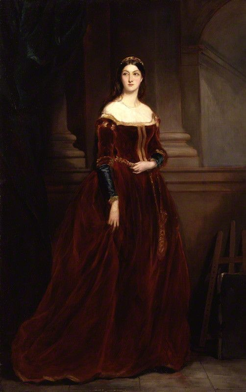 "1859-60. Louisa Anne Beresford (née Stuart), Marchioness of Waterford, wore this dress for a famous multi-day 1839 fancy-dress event known as the Eglinton Tournament. She retained the dress and posed in it for Sir Francis Grant in 1859. Per her mother, Louisa's ""costumes were much admired, and looked simple and in good taste beside some of the more elaborately embroidered."" National Portrait Gallery, London."