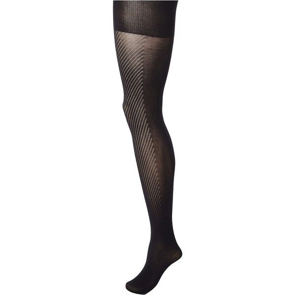 Spanx Diagonal Contrast Shaping Tights (Black) Hose ($21) ❤ liked on Polyvore featuring intimates, hosiery, tights, black, spanx tights, patterned pantyhose, patterned tights, spanx and print stockings