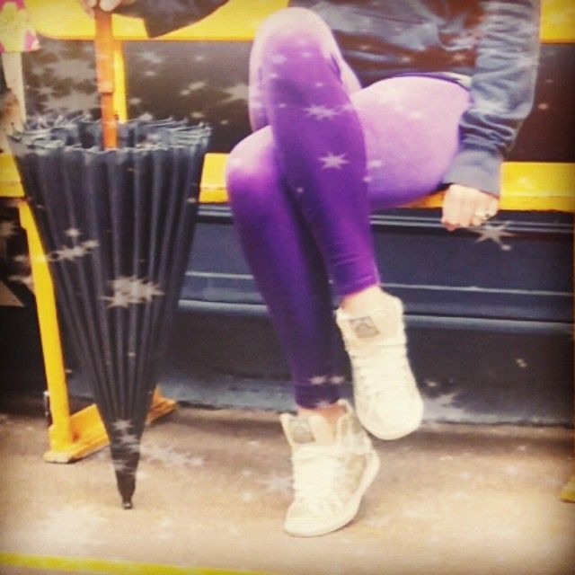 Where are you summer?  Cheer yourself up with a beautiful pair of #royalpurplevelvet @fomolondon leggings!  Teamed here with super glittery superdry high tops!! Go to www.fomolondon.com - #superdry #leggings #loungewear #fomolondongirls