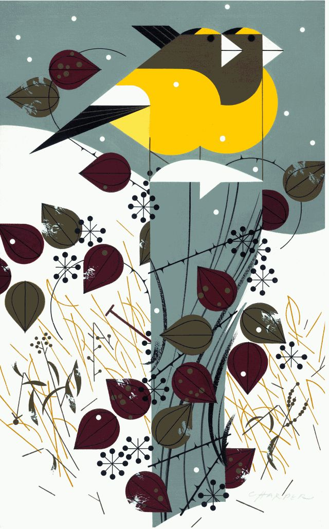I've not heard of Charley Harper before, but I like the mix of freedom and geometric shown here.