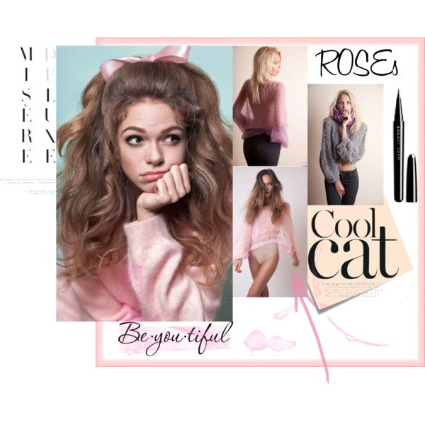 A pink morning by bewoolen on Polyvore featuring Marc Jacobs, Schone, Post-It, hairtrend, Pink, sweet and sweaters