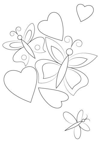 Hearts and Butterflies Målarbok. Kategorier: Hjärtan. Gratis utskrivningsbara bilder med varierande teman som du kan skriva ut och färglägga.