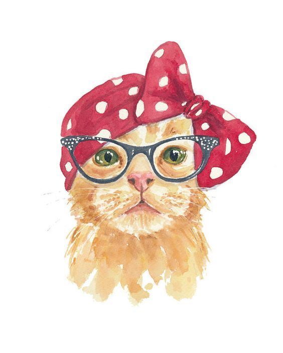 Title: A Certain Glamour by Deidre Wicks ‡ Orangie will tell you that she put on the head scarf because she was going for a 1940s retro look. But really, she just got a bad haircut! The orange tabby cat in the painting is my very own Orange Peel. And yes he's really a boy. Male or female, how can you resist a cat in cat eye glasses? Watercolour Print Printed on archival paper with pigment ink.