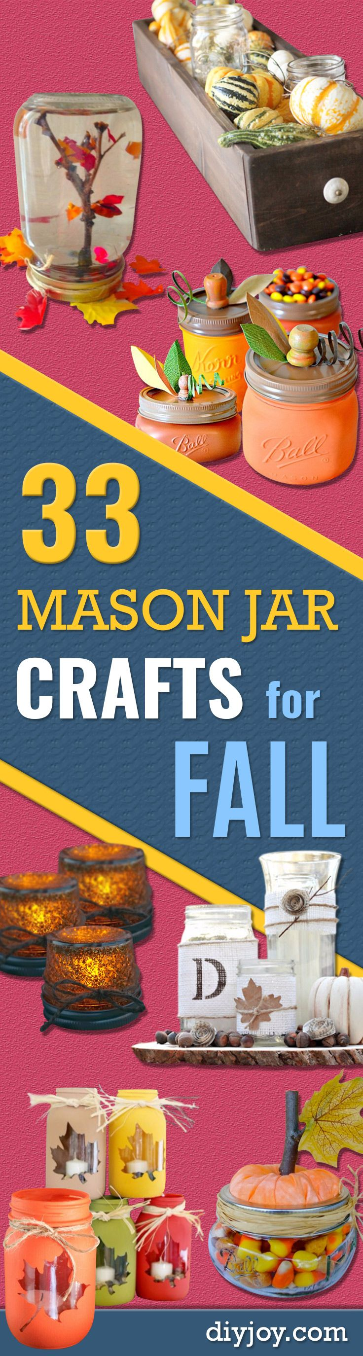 Best Mason Jar Crafts for Fall - DIY Mason Jar Ideas for Centerpieces, Wedding Decorations, Homemade Gifts, Craft Projects with Leaves, Flowers and Burlap, Painted Art, Candles and Luminaries for Cool Home Decor http://diyjoy.com/mason-jar-crafts-fall                                                                                                                                                                                 More