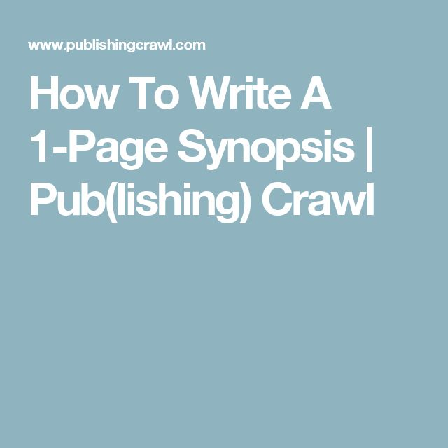 how to write a synopsis for publisher